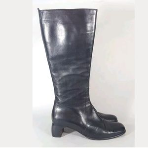 Cole Haan boots knee high black leather zip 8